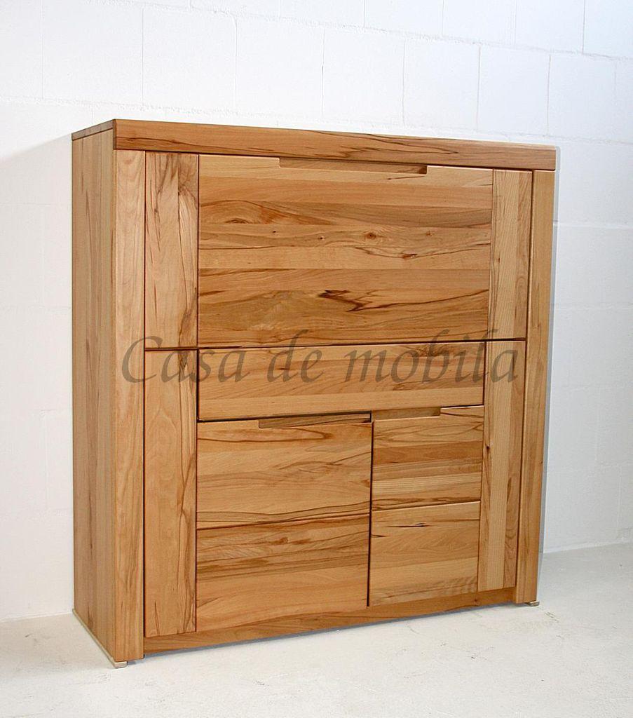 Massivholz Sekretär Kernbuche Computerschrank 115x120x40 Holzgriffe – Bild 4