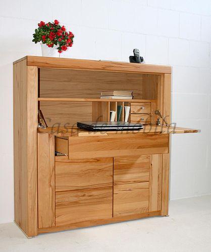 Massivholz Sekretär Kernbuche Computerschrank 115x120x40 Holzgriffe – Bild 2