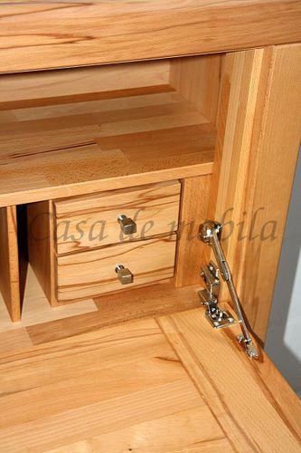 Massivholz Sekretär Kernbuche Computerschrank 115x120x40 Holzgriffe – Bild 8