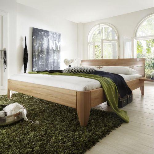 Bett 100x200 geölt Kernbuche massiv hohes Einzelbett stabverleimt – Bild 1