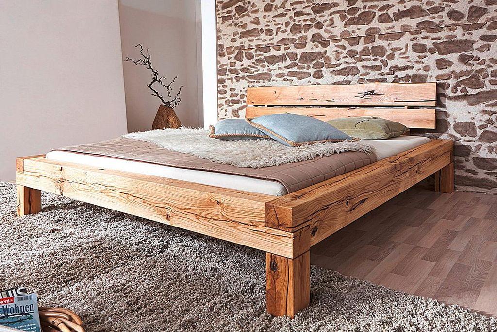 balkenbett 140x200 wildeiche massiv rustikal ge lt. Black Bedroom Furniture Sets. Home Design Ideas