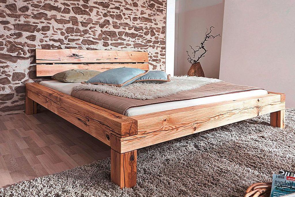 balkenbett 200x200 wildeiche massiv rustikal ge lt. Black Bedroom Furniture Sets. Home Design Ideas
