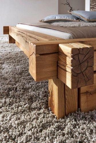 Balkenbett 160x200 Bett Vollholz Rustikal Doppelbett Wildeiche massiv geölt – Bild 3