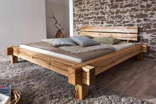 Balkenbett 160x200 Bett Vollholz Rustikal Doppelbett Wildeiche massiv geölt – Bild 1