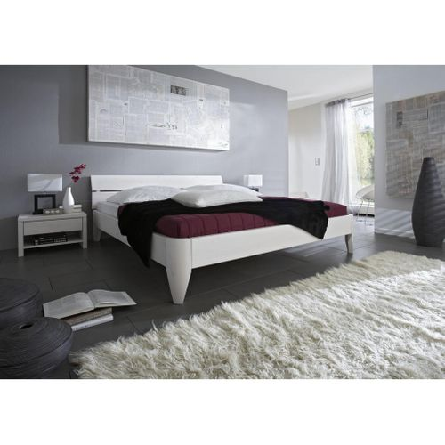Seniorenbett 140x200 Kiefer massiv Doppelbett Komforthöhe weiß lackiert – Bild 2