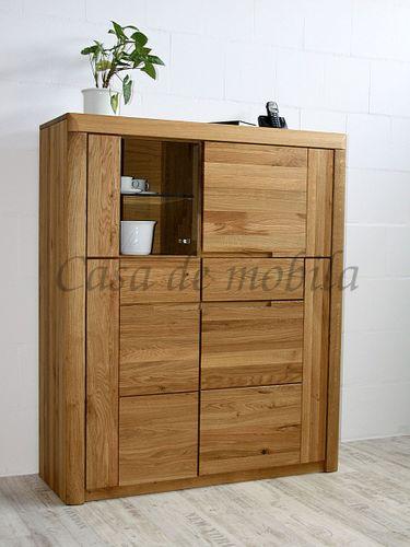 Highboard Wildeiche geölt Holz Wohnzimmerschrank massiv Glastür links – Bild 1