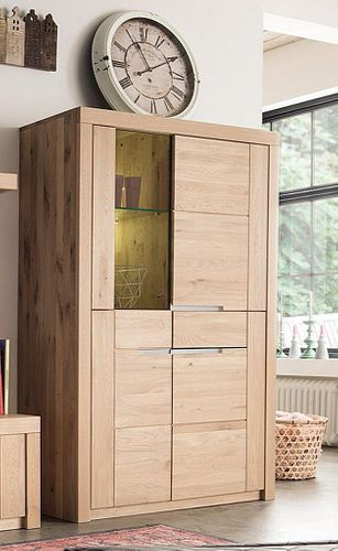 Vitrine 4türig Wildeiche Bianco geölt Vollholz Highboard massiv Glastür links – Bild 2