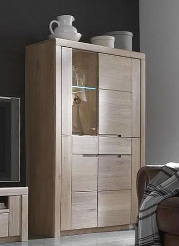 Vitrine 4türig Wildeiche Bianco geölt Vollholz Highboard massiv Glastür links – Bild 1