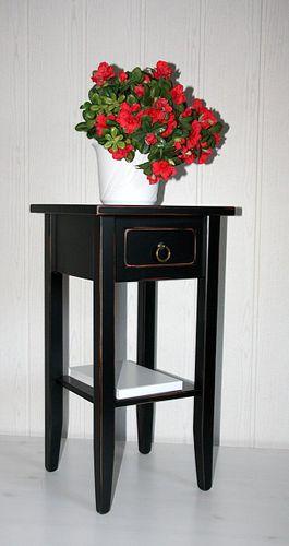 Beistelltisch Blumentisch Blumenhocker 60cm Massivholz schwarz antik – Bild 1