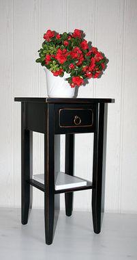 Beistelltisch 32x60x32cm, 1 Schublade, 1 Ablageboden, Pappel massiv schwarz antik lackiert