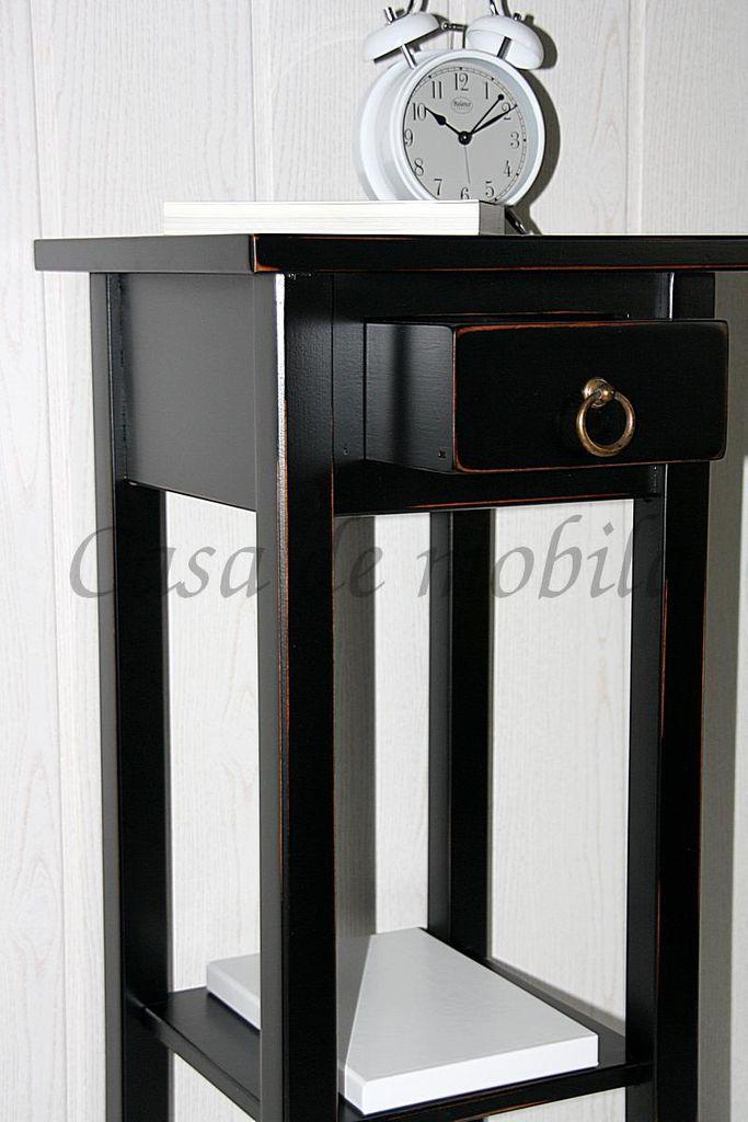 beistelltisch 32x70x32cm 1 schublade 1 ablageboden pappel massiv schwarz antik lackiert. Black Bedroom Furniture Sets. Home Design Ideas