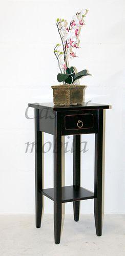 Beistelltisch schwarz antik Blumentisch Vintage Blumenhocker 70cm massiv shabby-chic schwarz – Bild 3