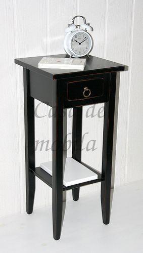 Beistelltisch schwarz antik Blumentisch Vintage Blumenhocker 70cm massiv shabby-chic schwarz – Bild 4