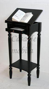 Stehpult 50x105x38cm, 1 Schublade, 1 verstellbare Klappe, Pappel massiv schwarz antik lackiert