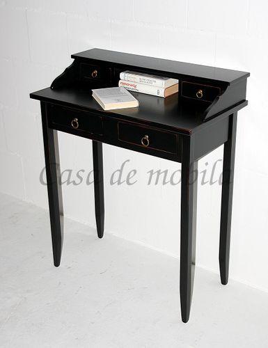 Sekretär Schreibtisch mit 4 Schubladen Vollholz massiv schwarz antik – Bild 4