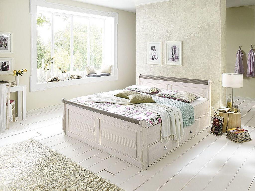 Schubladenbett 100x200 weiß Vollholz Komfortbett Kiefer massiv – Bild 1