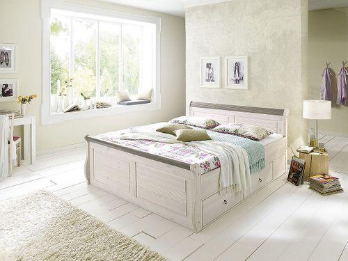 Schubladenbett 140x200 weiß Vollholz Komfortbett Kiefer massiv – Bild 1