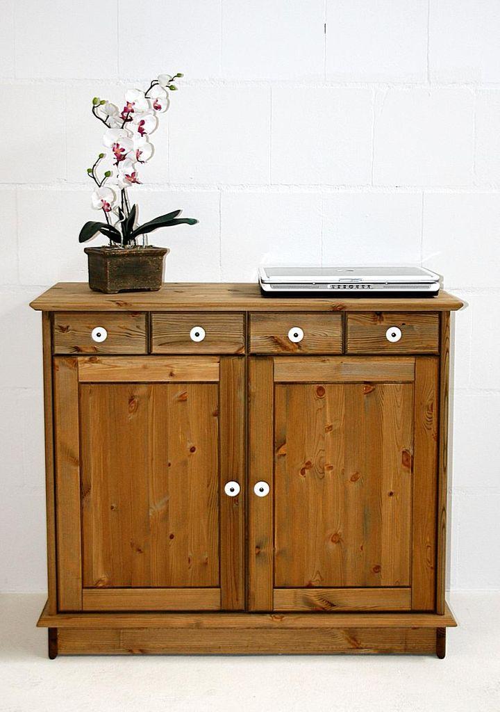 Kommode 92x80x50cm 2 Holztüren 4 Schubladen Kiefer Massiv