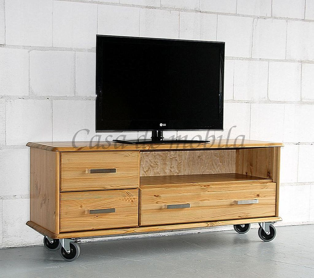 tv lowboard 134x56x50cm 2 kleine 1 gro e schublade kiefer massiv. Black Bedroom Furniture Sets. Home Design Ideas
