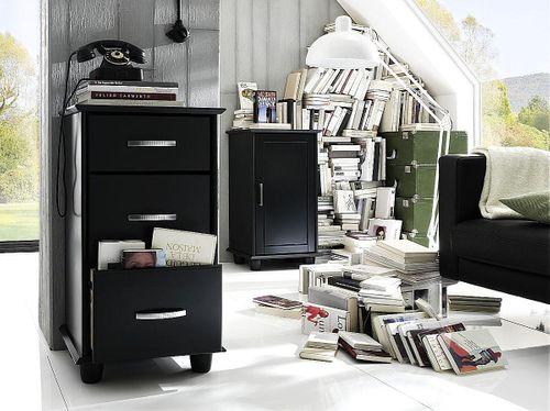 Flurkommode 3 Schubladen Kiefer schwarz lackiert Vollholz Bürokommode – Bild 2