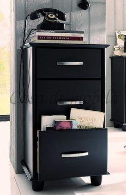Flurkommode 3 Schubladen Kiefer schwarz lackiert Vollholz Bürokommode 001