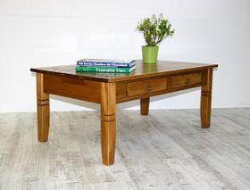 Couchtisch 110x46x65cm, 2 Schubladen, Tischplatte mit Fräsung, Pappel massiv honigfarben lackiert