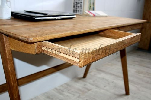 Schreibtisch DELIA 120x75x65cm Wildeiche massiv Kinder-Schreibtisch geölt – Bild 11