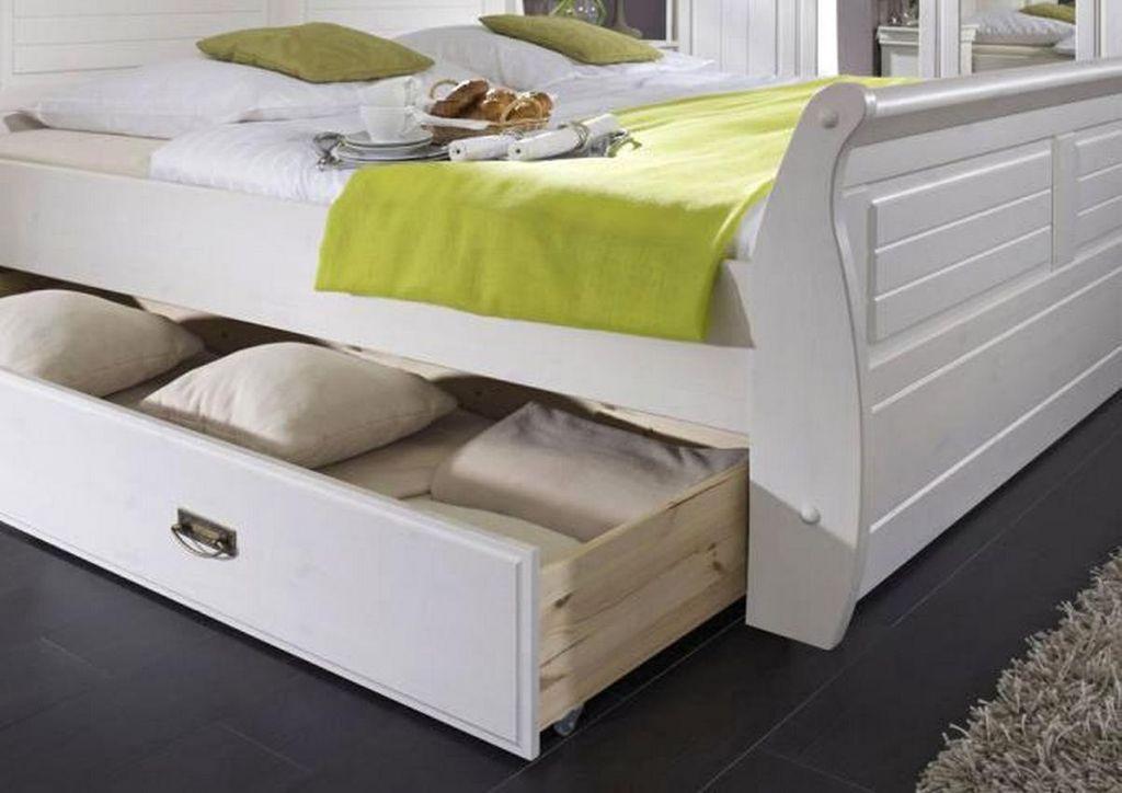 Schubladenbett 100x200 Holzbett mit Schubkasten Kiefer massiv weiß gelaugt – Bild 2