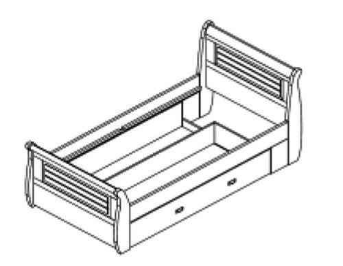 Schubladenbett 100x200 Holzbett mit Schubkasten Kiefer massiv weiß gelaugt – Bild 3