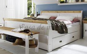 Bett 100x200, mit 1 Schublade, Kiefer massiv 2farbig weiß gewachst / gelaugt geölt