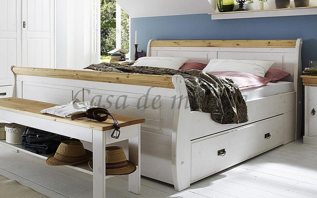 bett 140x200 mit 2 schubladen kiefer massiv 2farbig wei. Black Bedroom Furniture Sets. Home Design Ideas