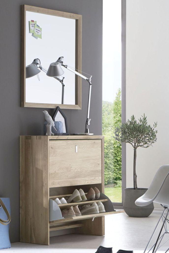 Garderoben Set Dielenmobel 2teilig Wildeiche Massiv Holz