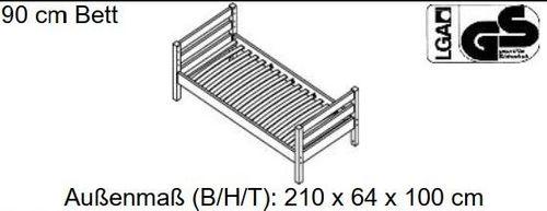 Jugendbett 90x200 Schubladenbett Kiefer massiv weiß Kinderbett – Bild 3