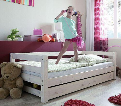 Jugendbett 90x200 Schubladenbett Kiefer massiv weiß Kinderbett – Bild 1