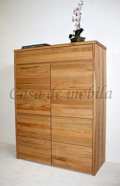 Wäscheschrank Buche massiv geölt Highboard Vollholz Schlafzimmerschrank 001