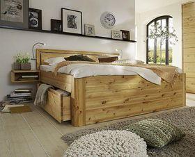 Massivholz Schubladenbett 180x200 49 cm hoch Kiefer gelaugt/geölt 2x2 Schubladen Kopfteil Vollholz 001