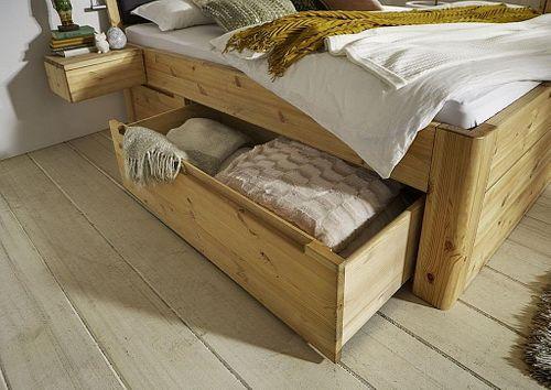 Massivholz Schubladenbett 200x200 49 cm hoch Kiefer gelaugt/geölt 2x2 Schubladen Kopfteil Vollholz – Bild 2