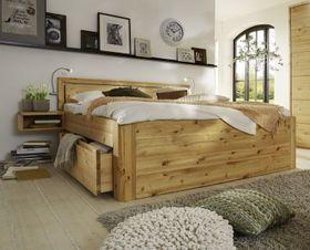 Massivholz Schubladenbett 160x200 56 cm hoch Kiefer gelaugt/geölt m. 2x2 Schubladen Kopfteil Vollholz 001