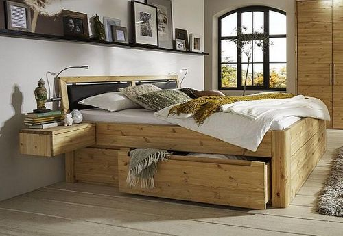 Massivholz Schubladenbett 200x200 56 cm hoch Kiefer gelaugt/geölt 2x2 Schubladen Kopfteil Leder – Bild 1