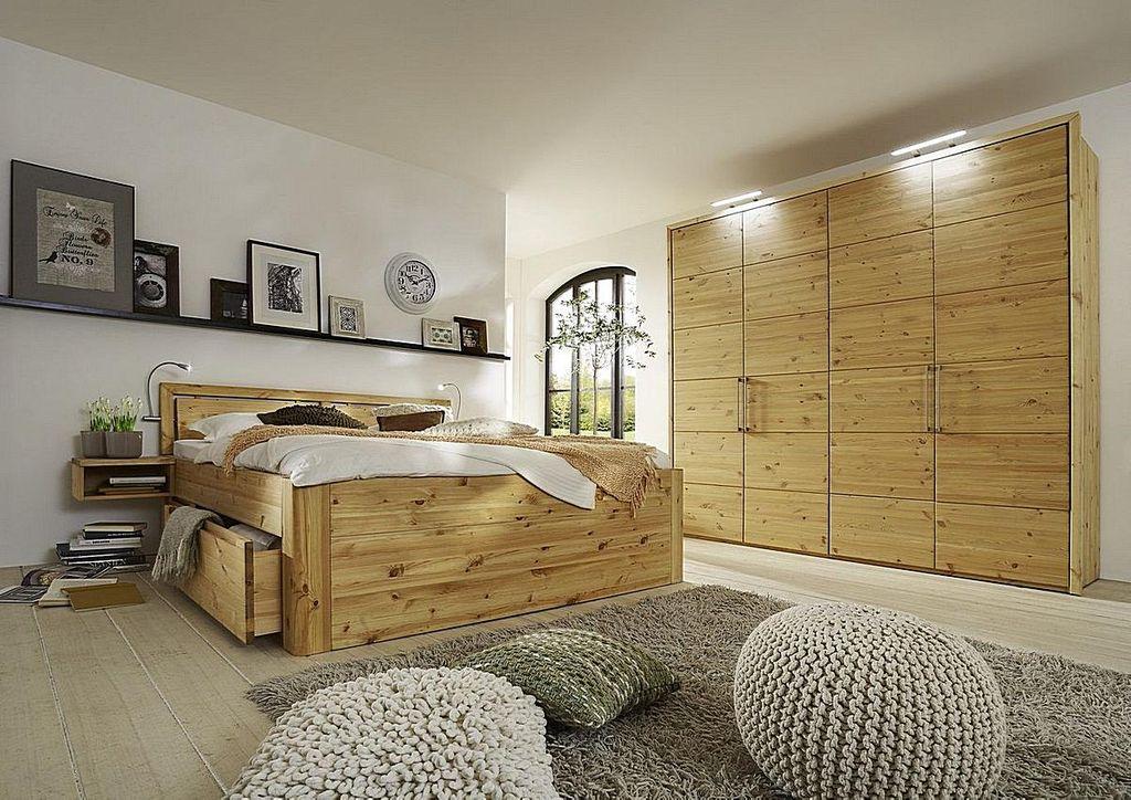 Massivholz Schlafzimmer 4tlg Bett mit Kopfteil Vollholz 160x200 49cm ...