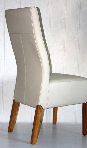 Polster-Stuhl Toledo-Leder creme Eiche massiv geölt – Bild 5