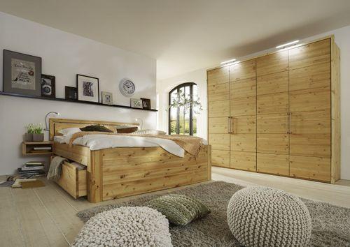 Schlafzimmer Set massiv Kiefer gelaugt/geölt 4tlg. Bett 180x200 56 hoch Holz-Kopfteil Massivholz Kleiderschrank 4trg  – Bild 1