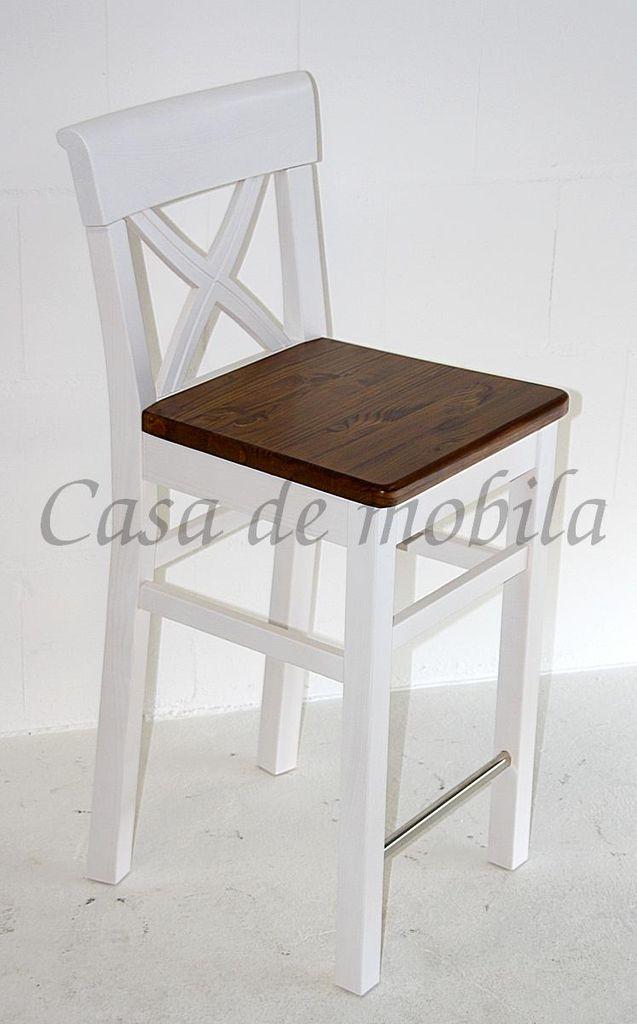 barhocker 44x96x44cm kiefer massiv 2farbig wei lasiert. Black Bedroom Furniture Sets. Home Design Ideas