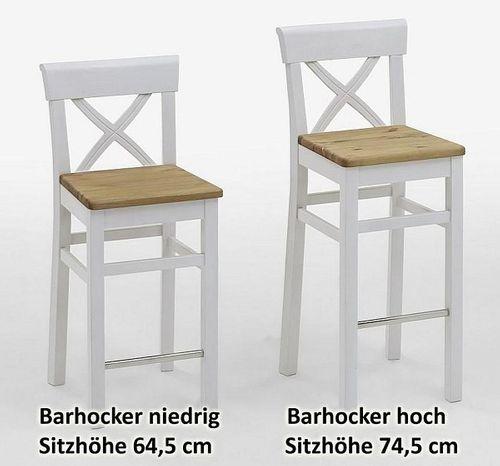 Barhocker Sitzhöhe 65cm 2farbig weiß honig Kiefer Bistrostuhl Vollholz massiv – Bild 7