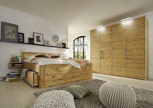 Schlafzimmer Massivholz 4tlg. Set Kiefer gelaugt geölt Bett mit Holz-Kopfteil 200x200 56 Höhe Kleiderschrank 4trg – Bild 1
