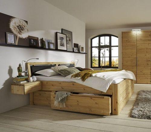 Schlafzimmer Massivholz 4tlg. Set Kiefer gelaugt geölt Bett mit Lederimitat -Kopfteil 200x200 56 Höhe Kleiderschrank 5trg – Bild 2