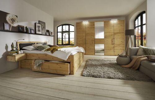 Schlafzimmer Massivholz 4tlg. Set Kiefer gel./geölt Bett mit Leder-Kopfteil 160x200 49 Höhe Kleiderschrank 5trg – Bild 1