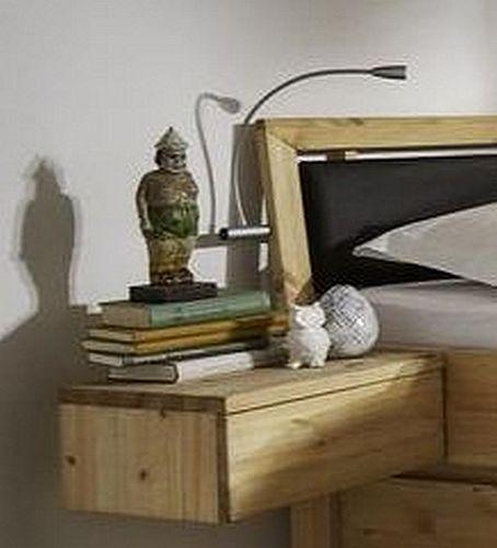 Schlafzimmer Massivholz 4tlg. Set Kiefer gel./geölt Bett mit Leder-Kopfteil 160x200 56 Höhe Kleiderschrank 5trg – Bild 3