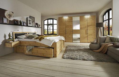Schlafzimmer Massivholz 4tlg. Set Kiefer gelaugt geölt Bett mit Leder-Kopfteil 200x200 49 Höhe Kleiderschrank 5trg – Bild 1