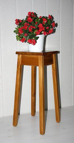 Blumentisch 60cm Beistelltisch quadratisch Pappel massiv honig Farbe – Bild 1